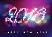 Happy new year 2016 bokeh blur color star shape