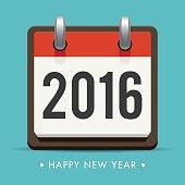 Happy new year 2016 card, retro calendar, editable vector design