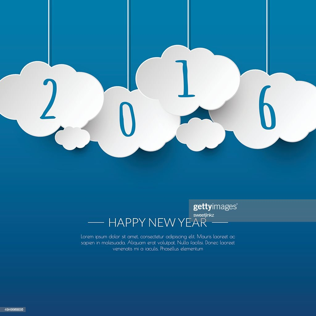 Happy new year 2016 cloud and sky background .Vector/illustratio