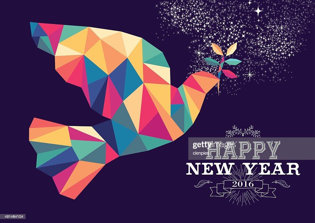 Happy new year 2016 dove triangle hipster color
