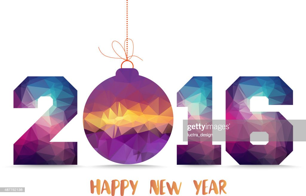 Happy new year 2016. geometrical card with Christmas ball