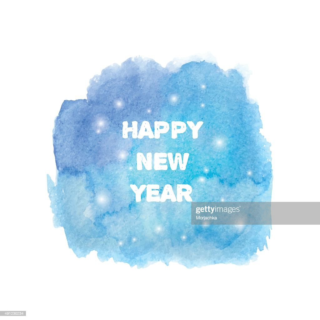 Happy New Year 2016 Greeting Card Abstract Stylish Watercolor