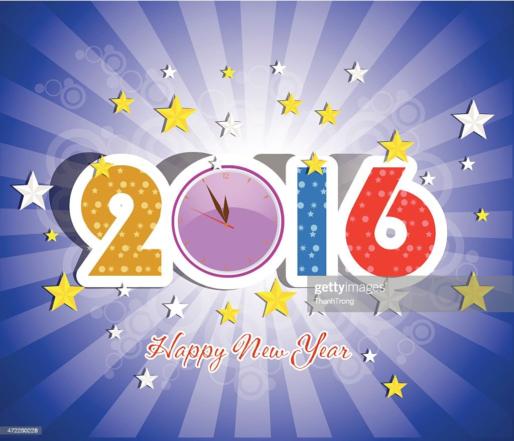 Happy New Year 2016 Greeting Card Vector Art Getty Images