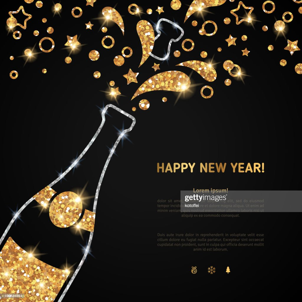 Happy new year 2016 greeting card with champagne bottle