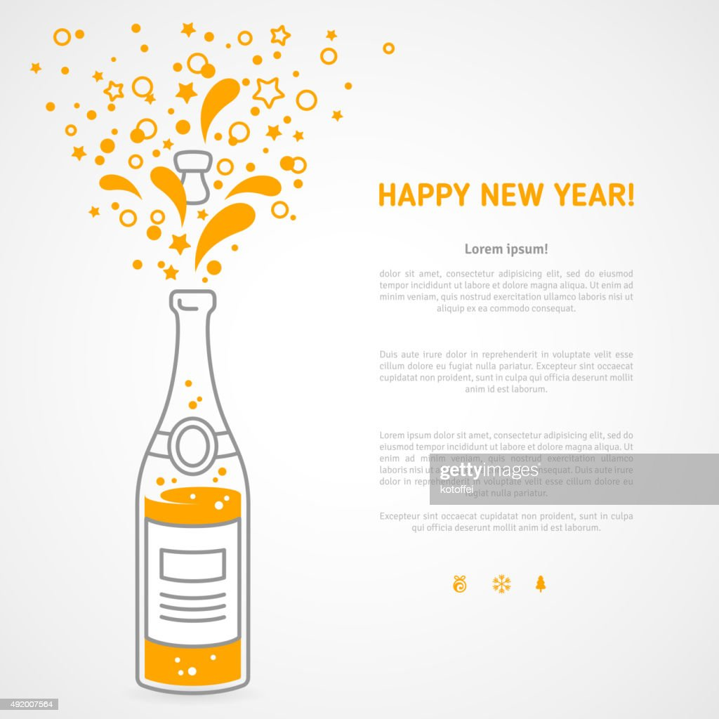 Happy new year 2016 greeting card with flat champagne  bottle