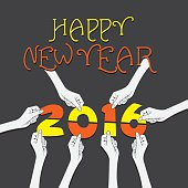 happy new year 2016 greeting design
