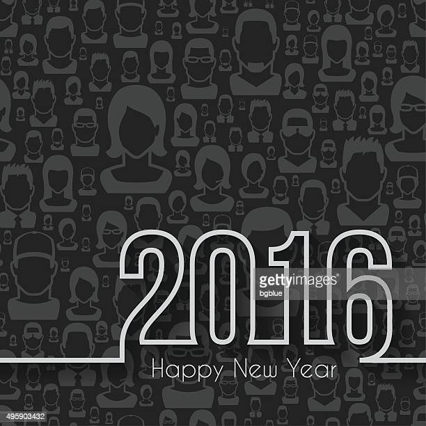 happy new year 2016 - Seamless pattern with people