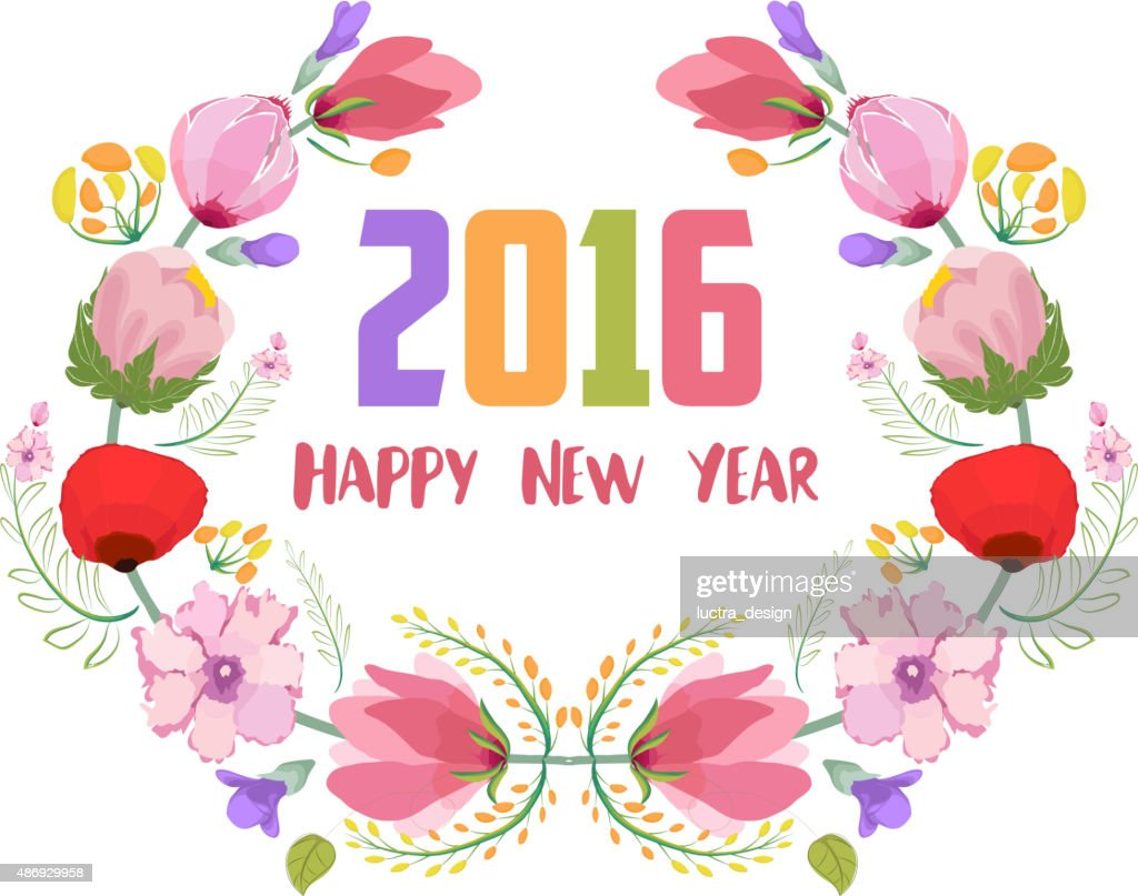 happy new year 2016 watercolor flowers frame vector art