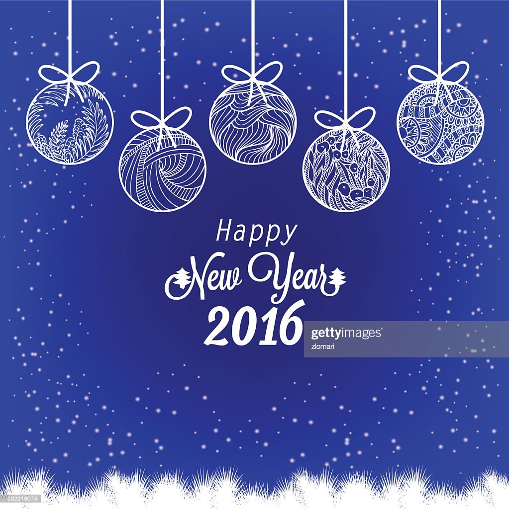 Frohes Neues Jahr 2016 Mit Christmas Ball Einladung Karte ...