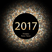 Happy New Year 2017 background. Gold greeting card. Vector illustration eps10
