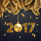 Happy New Year 2017 background with golden  fir-tree branches, confetti