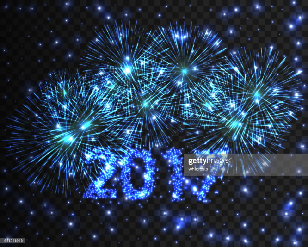 happy new year 2017 blue firework background greeting card with particle vector illustration eps10