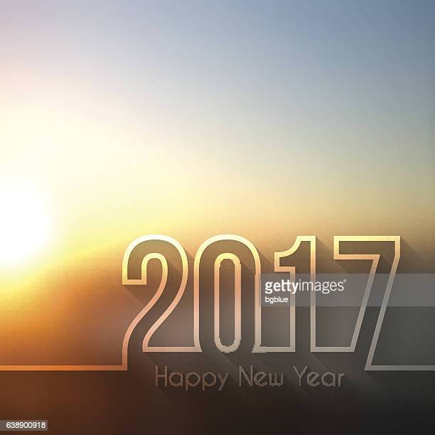 happy new year 2017 - blurred sunset or sunrise - champagne region stock illustrations, clip art, cartoons, & icons