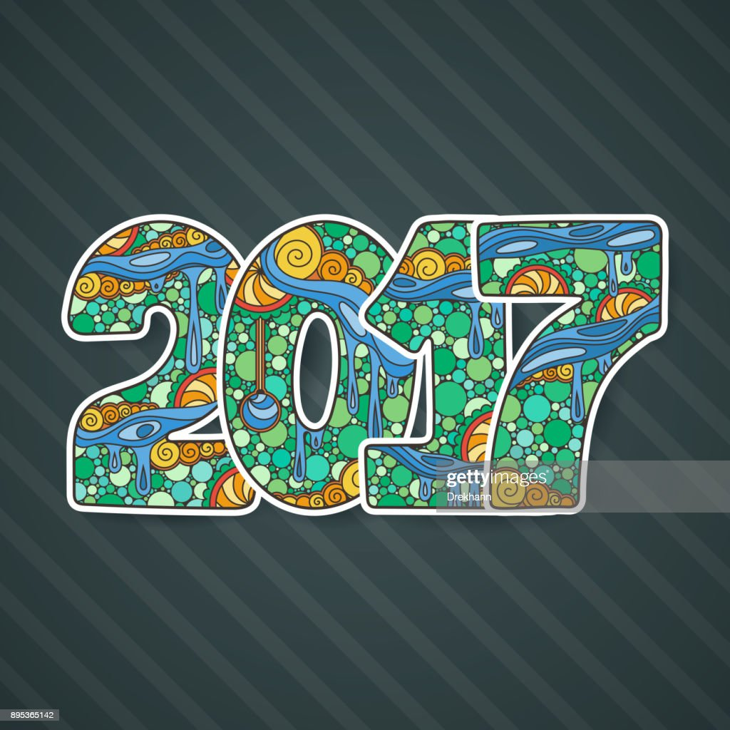 Happy New Year 2017 celebration number. Vector Xmas illustration..