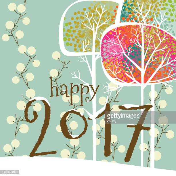 Happy New Year 2017 christmas winter card text
