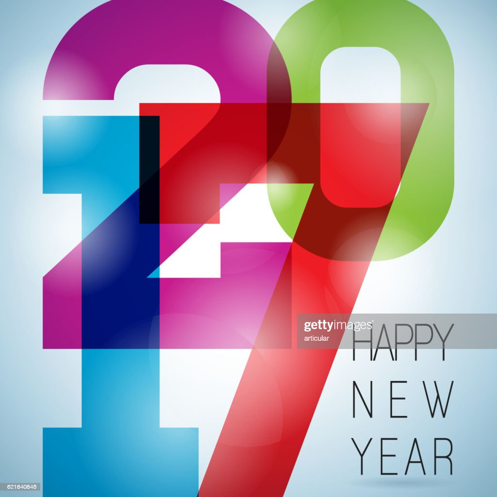 Happy New Year 2017 colorful celebration background with abstract number