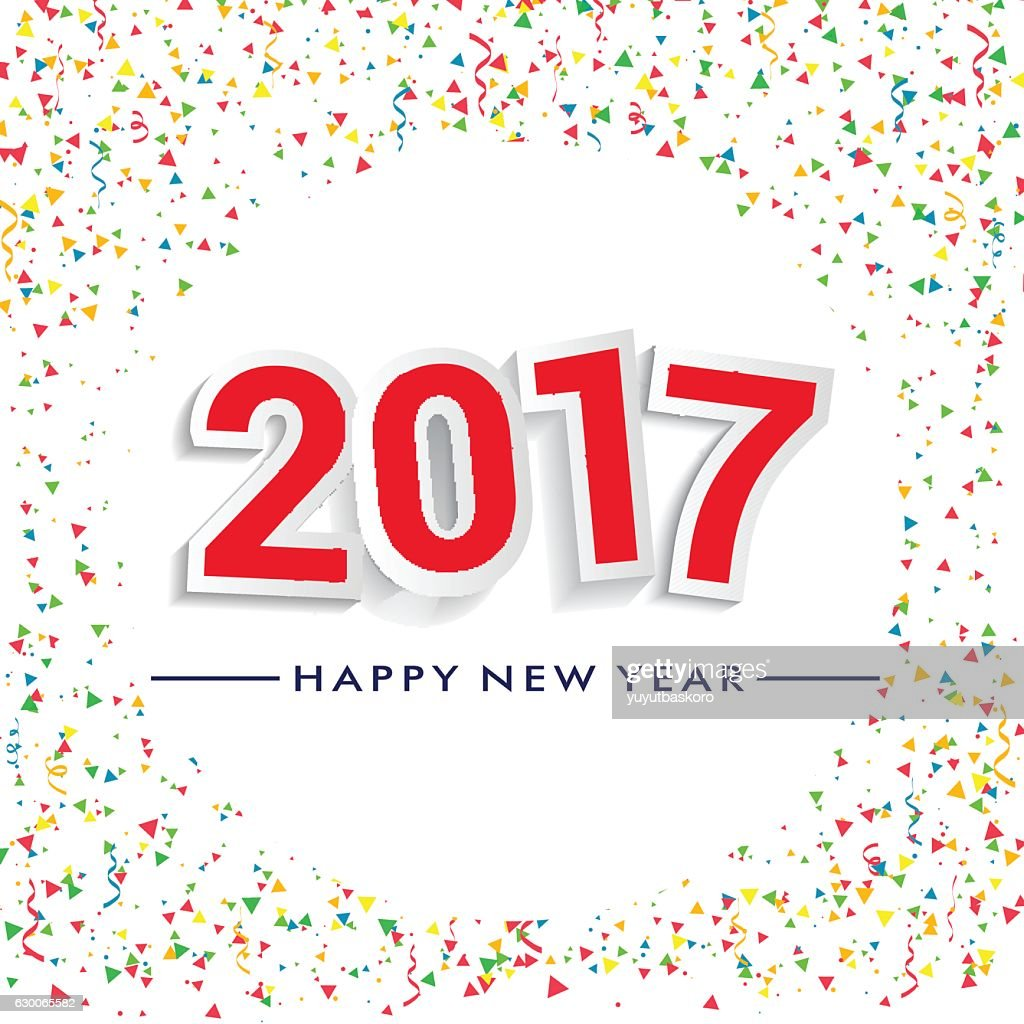 Happy New Year 2017 Design With Confetti Background stock