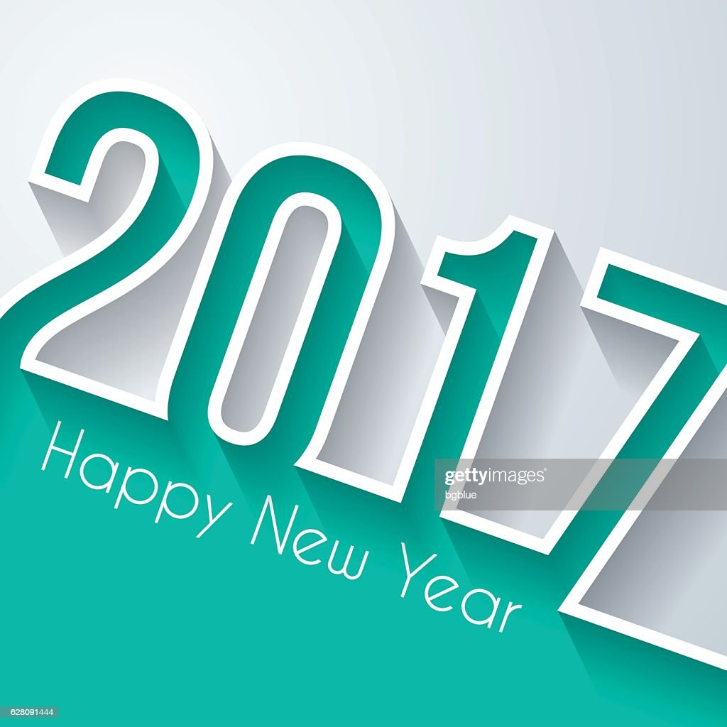 happy new year 2017 - Flat Design and long shadow