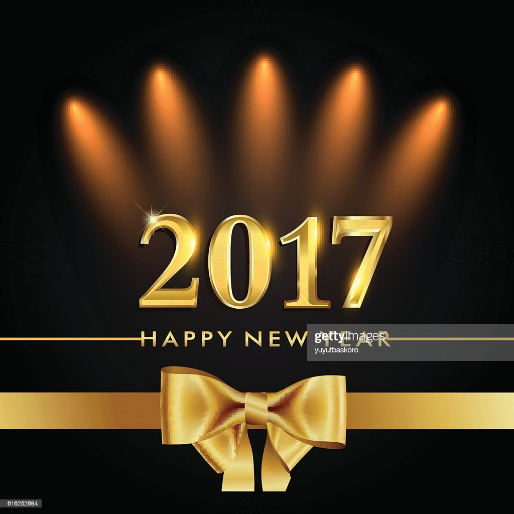 Happy New Year 2017 gold colored with ribbon : Arte vectorial