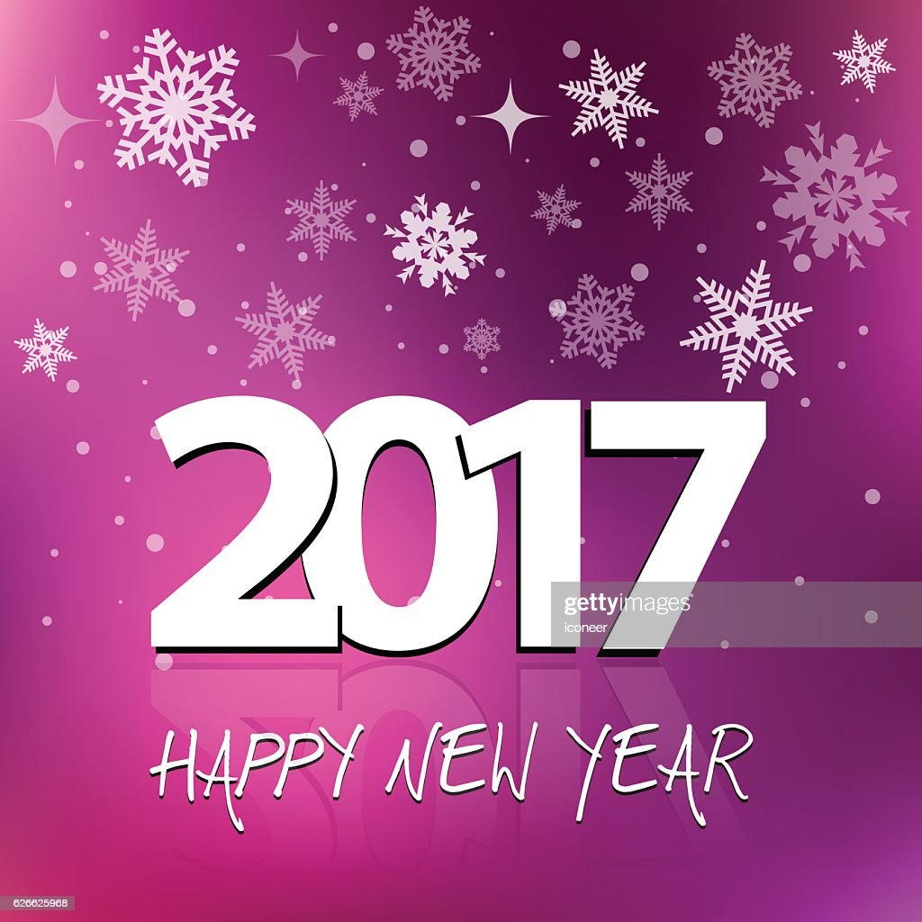 happy new year 2017 on multicolored purple snowing background vector art