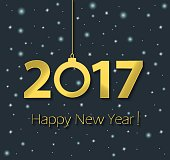 Happy New Year 2017 poster with stars