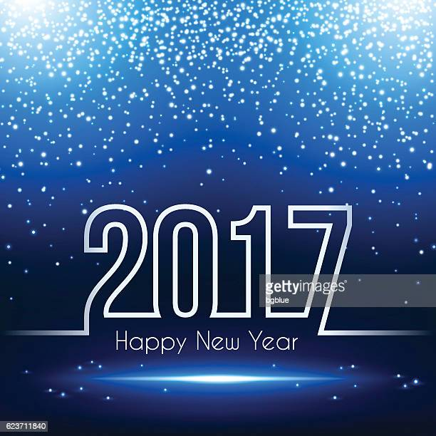 happy new year 2017 - Sparkling Blue Background