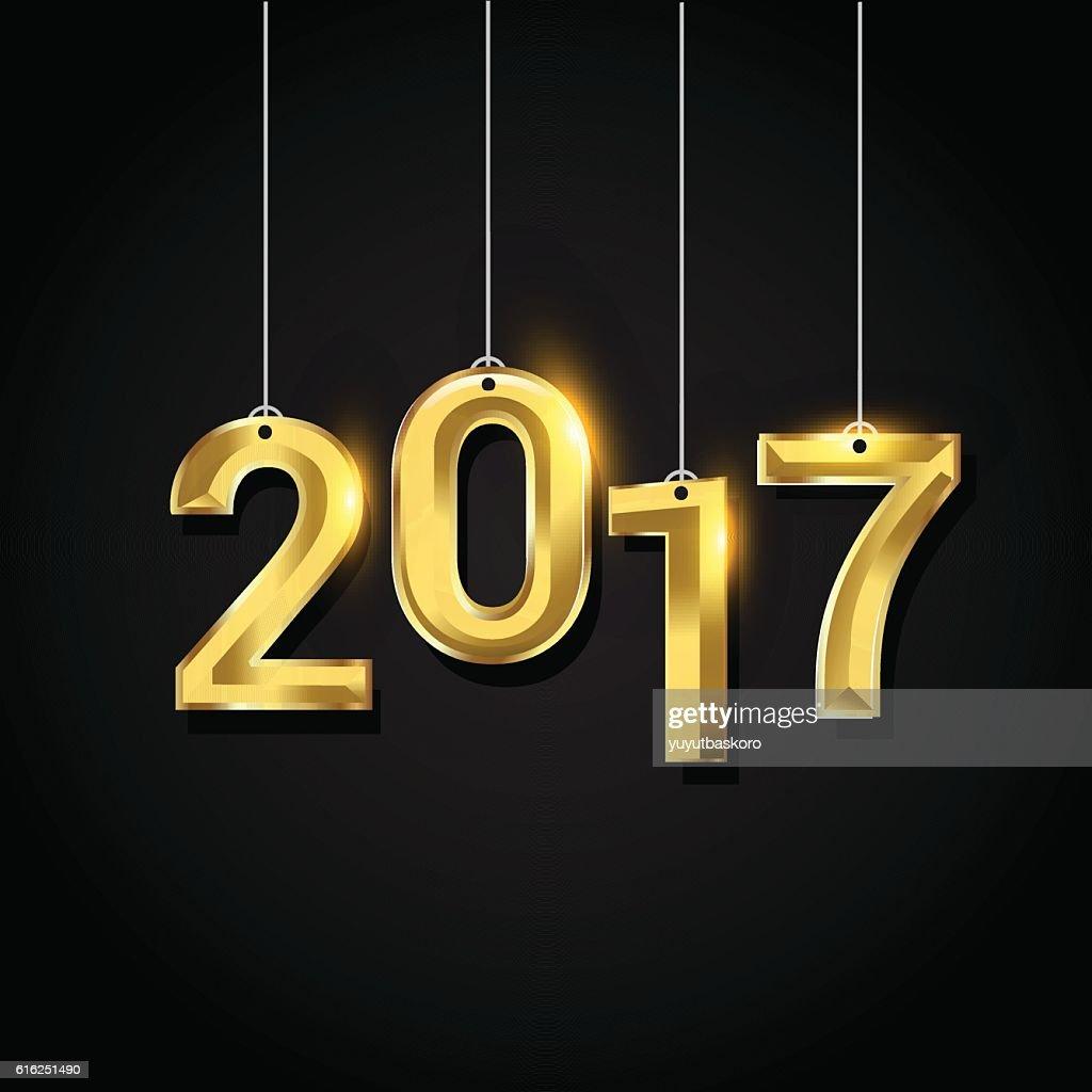 Happy New Year 2017 text design gold colored : Arte vetorial