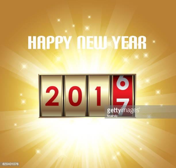 happy new year 2017 - slot machine stock illustrations, clip art, cartoons, & icons