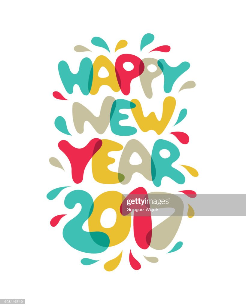 Happy New Year 2017 - vector post card : ストックイラストレーション