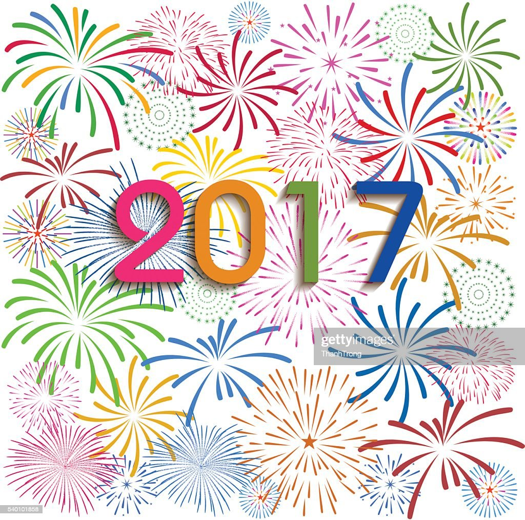 Happy New Year 2017 with fireworks Display on white background