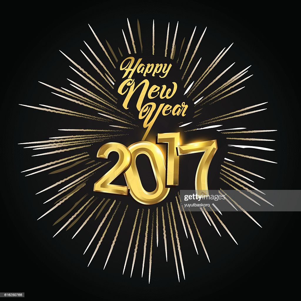 Happy New Year 2017 with fireworks : Vector Art