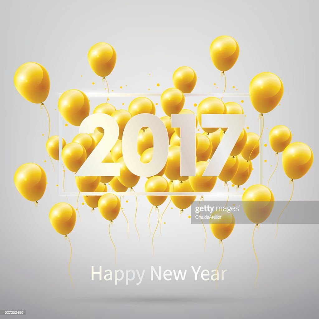Happy New Year 2017 with gold balloons, vector illustration.