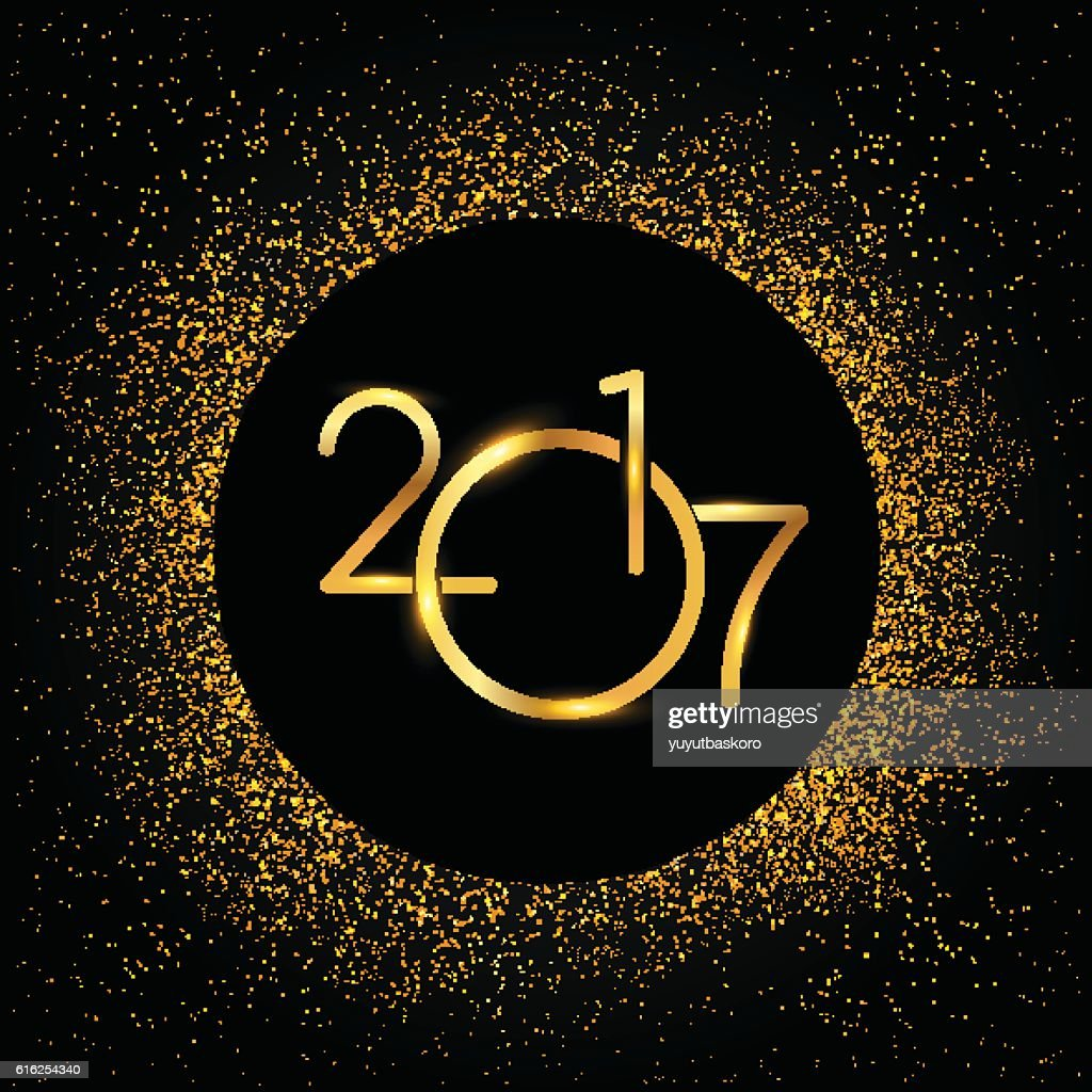 Happy New Year 2017 with golden glitter : Vector Art
