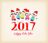happy new year 2017 with kids funny