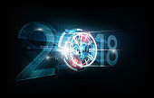 Happy New Year 2018, abstract clock futuristic background, vector illustration