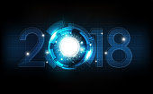 Happy New Year 2018 abstract clock technology background, vector illustration