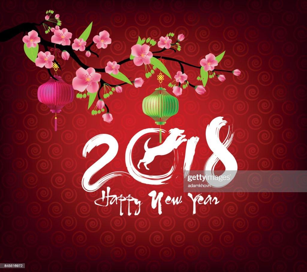 Frohes Neues Jahr 2018 Und Chinese New Year Des Hundes Mit Goldenem ...