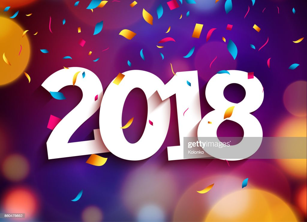 Happy New Year 2018 background decoration. Greeting card design template 2018 confetti. Vector illustration of date 2018 year. Celebrate brochure or flyer