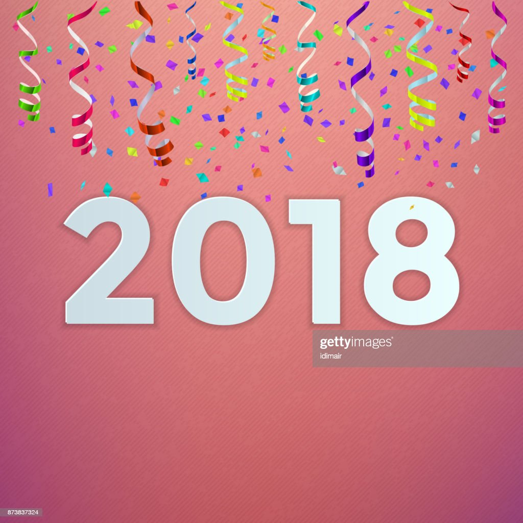 Happy New Year 2018 Background Decoration Greeting Card Design