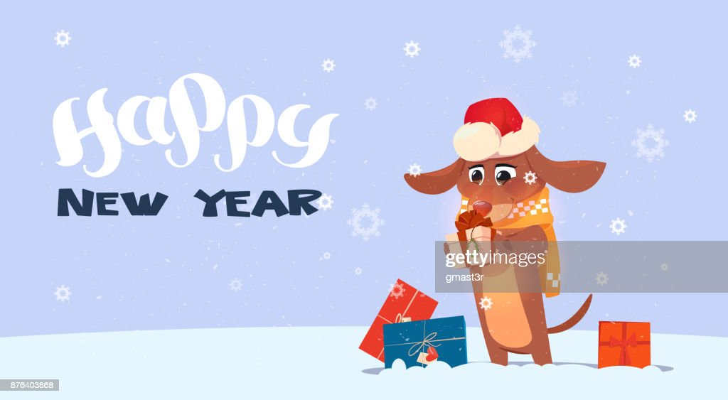 Happy New Year 2018 Background With Cute Dog Wearing Santa Hat