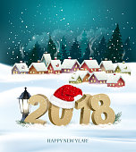 Happy New Year 2018 background with presents and Santa Claus.