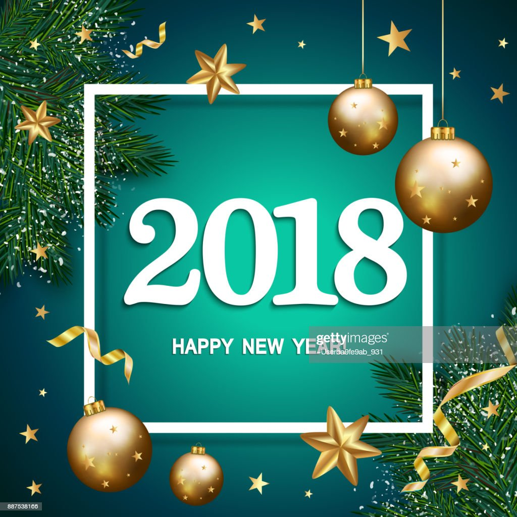 happy new year 2018 banner with pine branches decorated gold stars and bubbles on blue