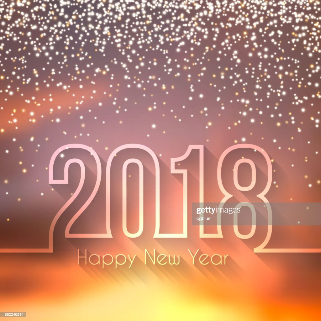 Happy New Year 2018 Beautiful Sky With Gold Glitter Vector Art ...