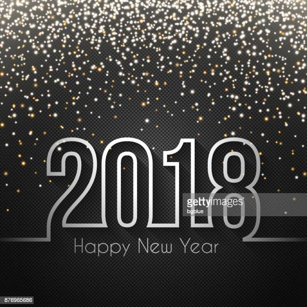 Happy new year 2018 - Carbon Fiber Texture with gold glitter