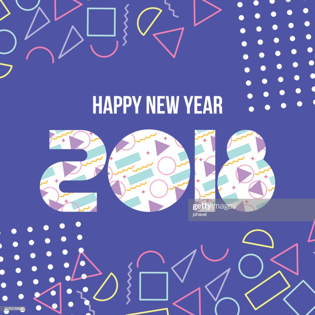 happy new year 2018 card greeting lettering celebration season