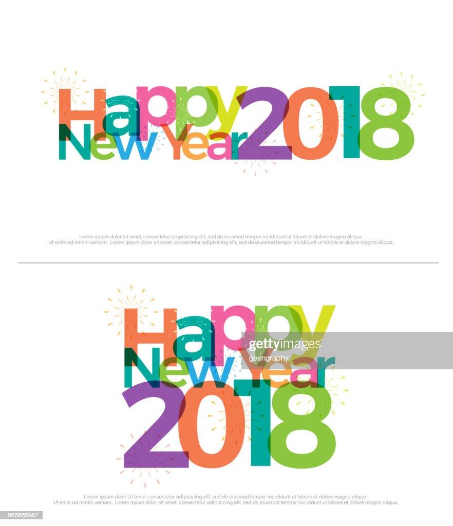Frohes Neues Jahr 2018 Buntes Feuerwerk Auf Weißem Hintergrund ...