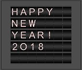 Happy New Year! 2018. Conceptual background stylized as mechanical information board