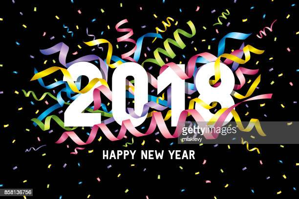 happy new year 2018 confetti - carnival celebration event stock illustrations, clip art, cartoons, & icons
