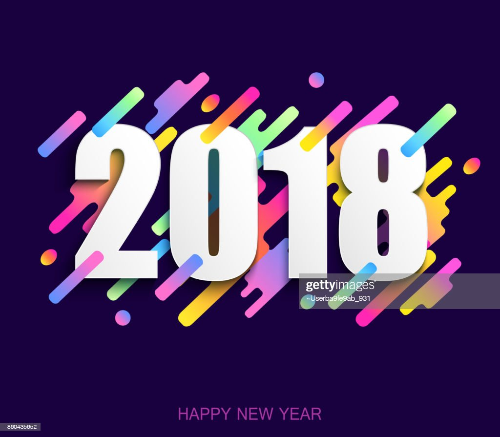 Happy new year 2018 creative design card on modern background. Vector illustration