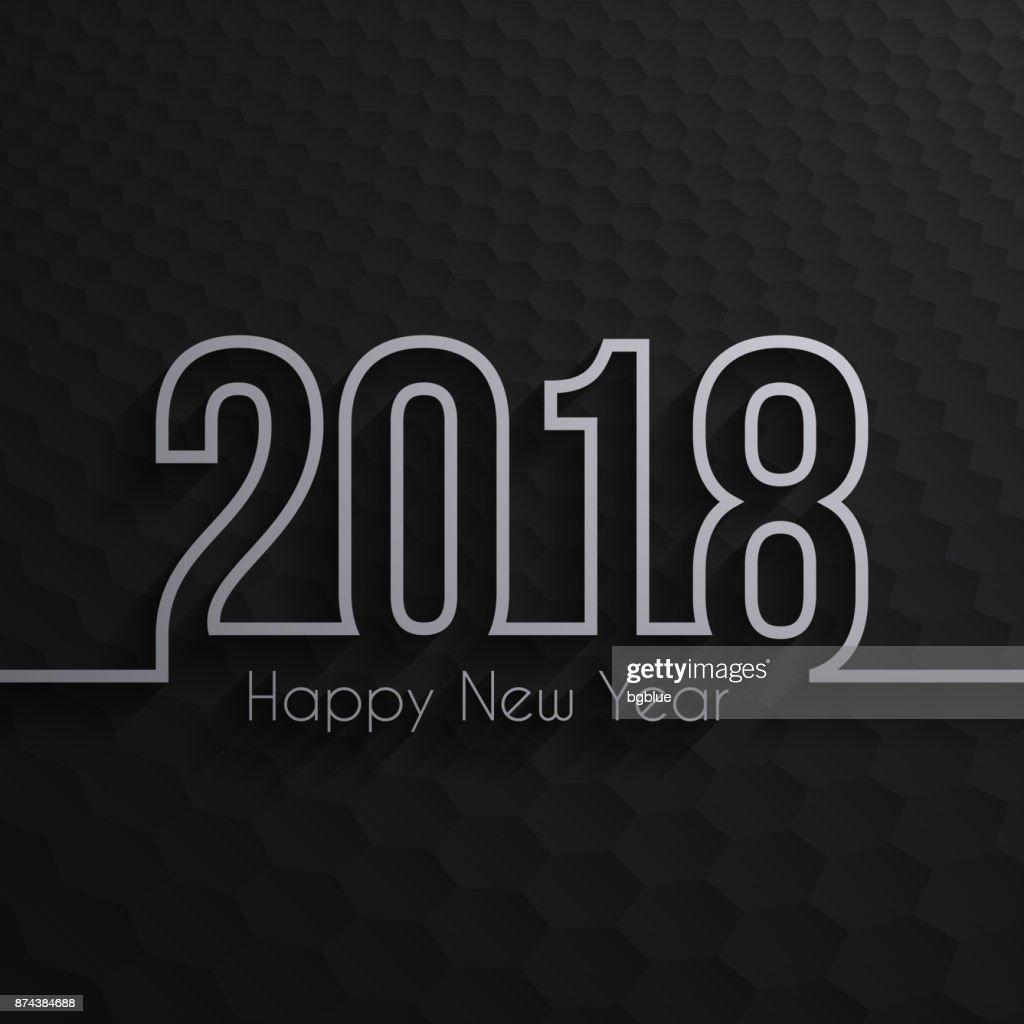 happy new year 2018 dark hexagons background vector art